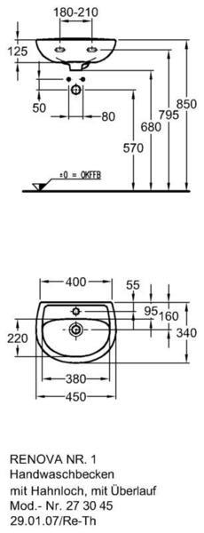 Умывальник Keramag Renova Nr. 1 450 x 340 мм с отверстием под смеситель с переливом
