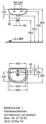 Умывальник Keramag Renova Nr. 1 500 x 380 мм с отверстием под смеситель с переливом цена