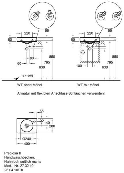 Умывальник Keramag Preciosa II 400 x 280 мм с отверстием для смесителя справа без перелива