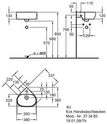 Умывальник Keramag 4U угловой 337 мм с отверстием под смеситель с переливом цена