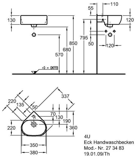 Умывальник Keramag 4U угловой 337 мм с отверстием под смеситель с переливом