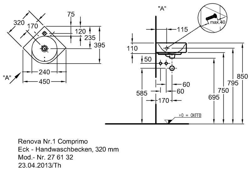 Умывальник Keramag Renova Nr. 1 Comprimo New угловой 320 мм с отверстием под смеситель с переливом