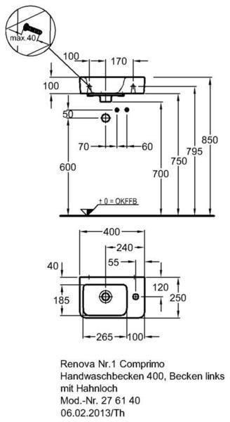 Умывальник Keramag Renova Nr. 1 Comprimo New 400 х 250 мм с отверстием под смеситель справа с переливом