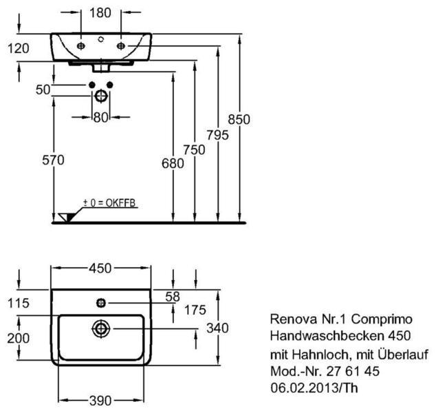 Умывальник Keramag Renova Nr. 1 Comprimo New 450 x 340 мм с отверстием под смеситель с переливом