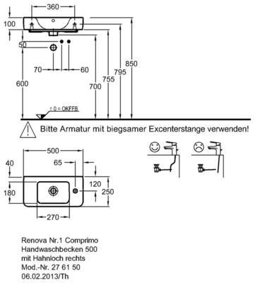 Умывальник Keramag Renova Nr. 1 Comprimo New 500 х 250 мм с отверстием под смеситель справа с переливом цены