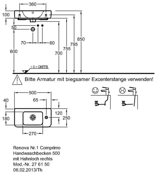 Умывальник Keramag Renova Nr. 1 Comprimo New 500 х 250 мм с отверстием под смеситель справа с переливом