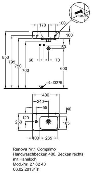 Умывальник Keramag Renova Nr. 1 Comprimo New 400 х 250 мм с отверстием под смеситель слева с переливом