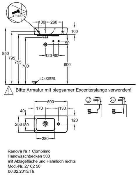 Умывальник Keramag Renova Nr. 1 Comprimo New с полочкой справа 500 х 250 мм с отверстием под смеситель справа с переливом