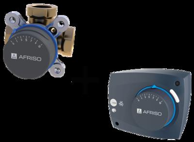 """AFRISO Комплект: ARV387 клапан 3-ходовой Rp 2"""" DN50 kvs 40 + ARM323 электропривод 230В 60сек. 6Нм 3 точки (1338732) цены"""