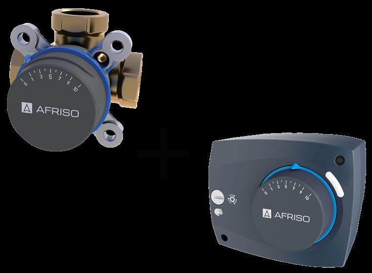 "AFRISO Комплект: ARV385 клапан 3-ходовой Rp 1 1/4"" DN32 kvs 15 + ARM323 электропривод 230В 60сек. 6Нм 3 точки (1338532)"