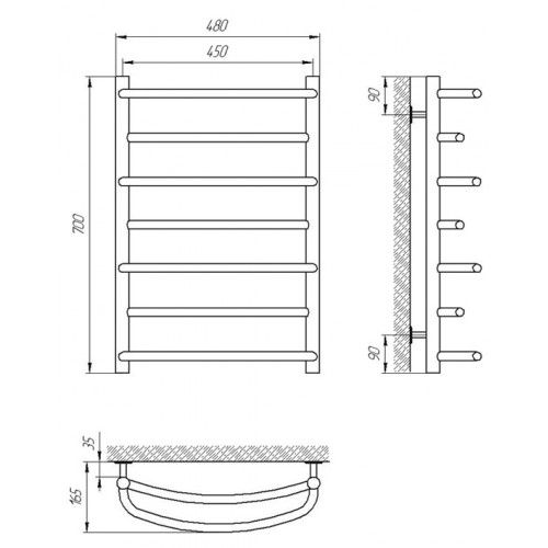 Полотенцесушитель Laris Евромикс П7 450х700 mm