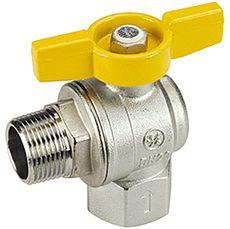 Газовый шаровый кран Giacomini, полнопроходной, угловой с желтой Т- ручкой НВ 3/4`