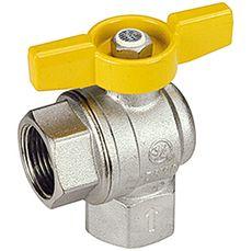 Газовый шаровый кран Giacomini, полнопроходной, угловой с желтой дросс.Т-ручкой хром. ВВ 1`
