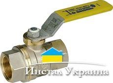 Газовый шаровый кран Giacomini, полнопроходной с желтой L-ручкой, никелированный НВ 3/4`