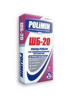 Polimin ШБ-20 Фасад-Декор Камешковая белая однослойная штукатурка для газобетона слой до 3-7 мм.