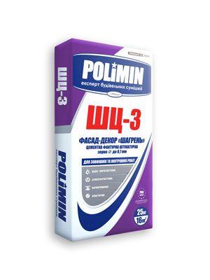 """Polimin ШЦ-3 Фасад-Декор защитная белая фактурная штукатурка, """"шагрень"""", зерно - до 0,7 мм"""