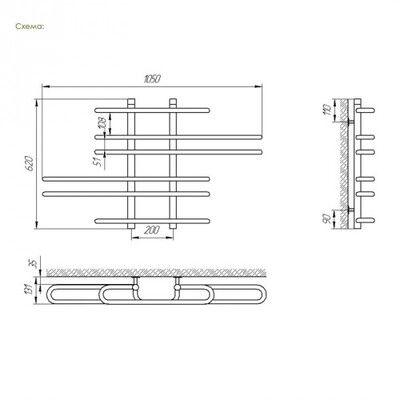 Полотенцесушитель Laris Диана П6 1050х600 mm цена