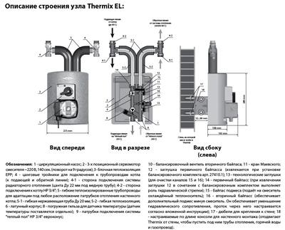 Meibes смесительная группа Thermix El с насосом Wilo Pumpe HU 15/6-2-3 цены