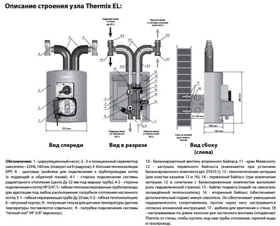 Meibes смесительная группа Thermix El с насосом Grundfos Alfa2 15-60 цена
