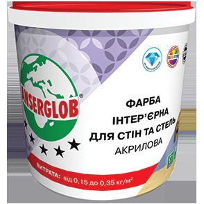 Anserglob Краска интерьерная акриловая для стен и потолков 15кг. цена