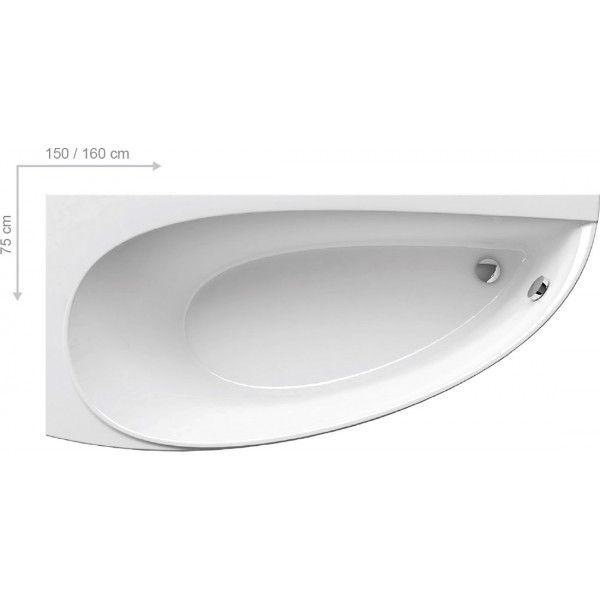 Акриловая ванна Ravak Avocado 160 x 75 R правосторонняя