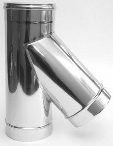 ТРОЙНИК из нержавеющей стали с термоизоляцией в оцинкованной стали 45 град; 1,0 мм ф150/210