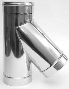 ТРОЙНИК из нержавеющей стали с термоизоляцией в оцинкованной стали 45 град; 1,0 мм ф120/180