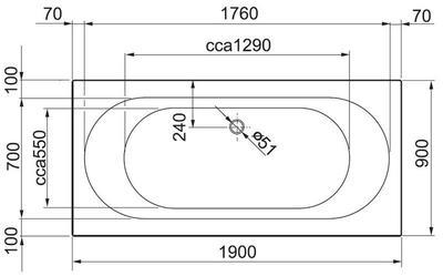 Акриловая ванна Gustavsberg Cassandra 190 x 90 UBA190CAS2W-01 цена