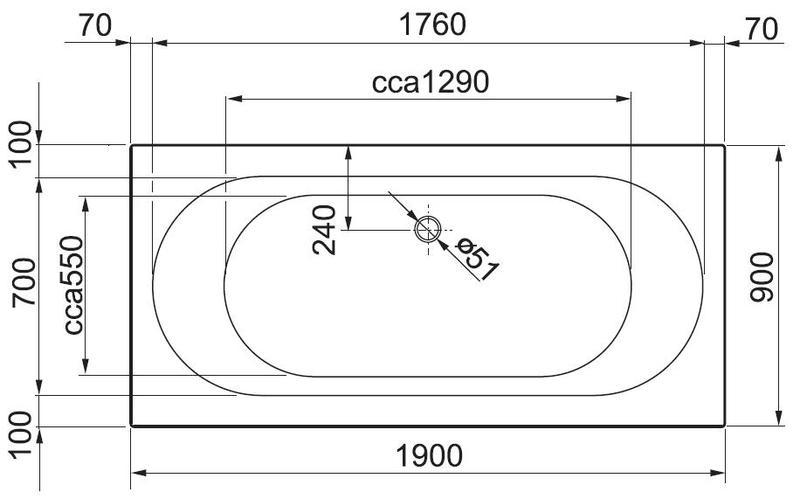 Акриловая ванна Gustavsberg Cassandra 190 x 90 UBA190CAS2W-01