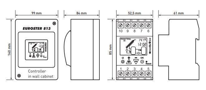 Euroster 813 Соларный термоконтр.отслеж.темп.солнечного коллектора и до 2 баков-акк., 3 датчика темп.