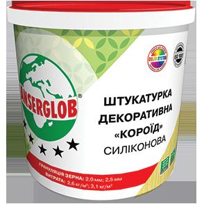 Anserglob Силиконовая белая декоративная штукатурка короед зерно 2,5 мм.