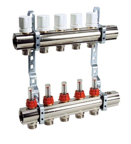 Коллекторная Luxor группа с расходомерами и термо клапанами 7 ходовой KG,R,T7