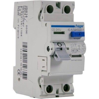 HAGER Дифференциальный выключатель напряжения 2x40A, 30 mA, AC, 2м (CD241J) цена