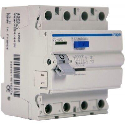 HAGER Дифференциальный выключатель напряжения 4x25A, 30 mA, AC, 4м (CD426J) цена