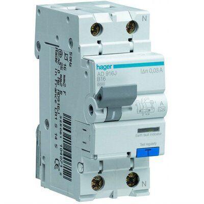 HAGER Дифференциальный автоматический выключатель 1+N, 25A, 30 mA, С, 6 КА, A, 2м (AD975J) цена