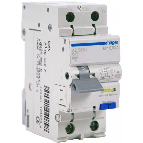 HAGER Дифференциальный автоматический выключатель 1+N, 16A, 30 mA, С, 6 КА, A, 2м (AD966J)