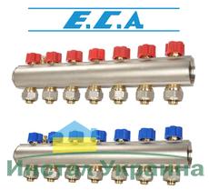 Коллекторная балка c вентилями E.C.A. 5 отв. синий