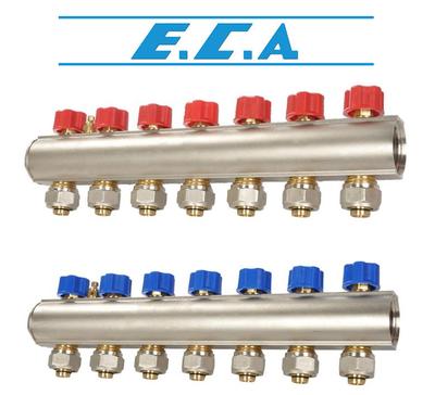 Коллекторная балка c вентилями E.C.A. 7 отв. синий цена