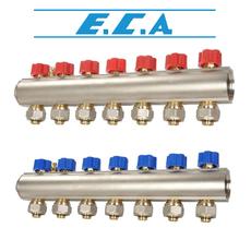 Коллекторная балка c вентилями E.C.A. 6 отв. синий