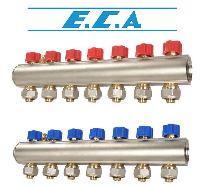 Коллекторная балка c вентилями E.C.A. 3 отв. синий