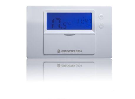Euroster 2026 Недельный программатор 5-45°C, ЖК экран, датчик темп.воздуха, 4 темп.прогр., на батарейках