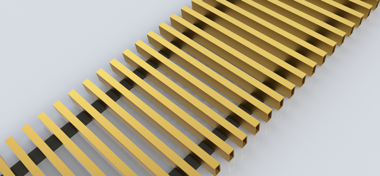 FanCOil решетка дюралевая золото для конвектора FCFP длина 1250мм
