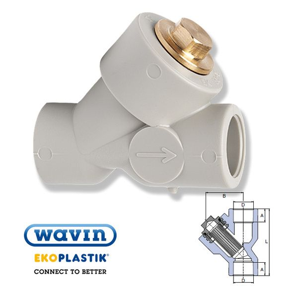 Wavin Ekoplastik полипропиленовый фильтр соединение внутренние 25