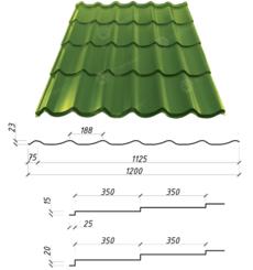 Металлочерепица Сталекс Atlanta 350/15 0,45 х 1200/1125 мм. Полиэстер матовый Китай