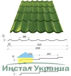 Металлочерепица Сталекс Atlanta 350/15 0,45 х 1200/1125 мм. Полиэстер матовый Польша