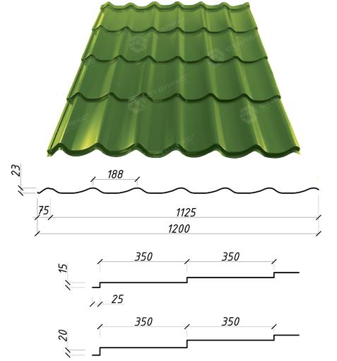 Металлочерепица Сталекс Atlanta 350/15 0,45 х 1200/1125 мм. Полиэстер матовый Италия