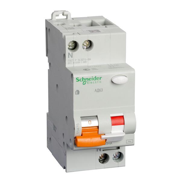 Schneider electric Дифференциальный автоматический выключатель АД63 2Р, C, 25А, 30mА (11474)