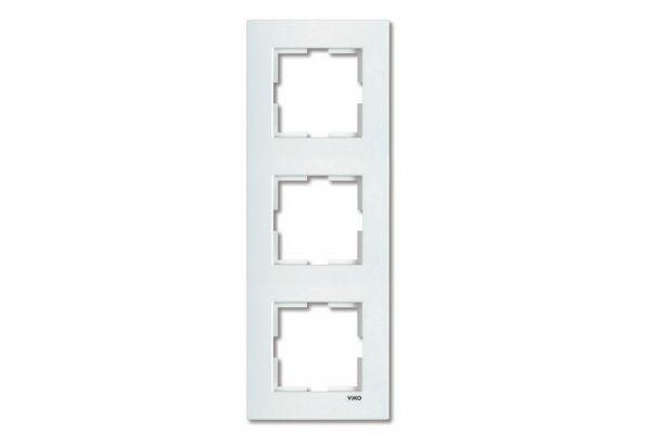 VIKO KARRE белый рамка 3 местная вертикальная