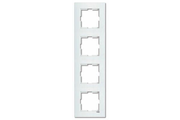 VIKO KARRE белый рамка 4 местная вертикальная