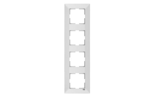 VIKO MERIDIAN белый рамка 4 местная вертикальная